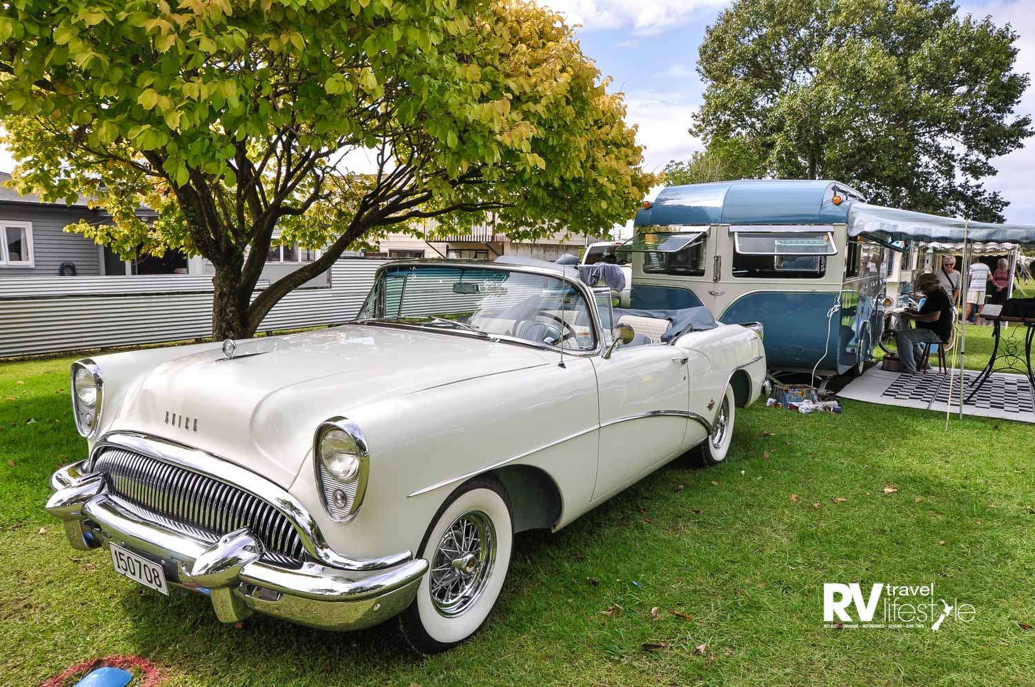 Classy Combo – this is a 1954 Buick Skylark and a 1957 Auckland Caravan Company-built caravan