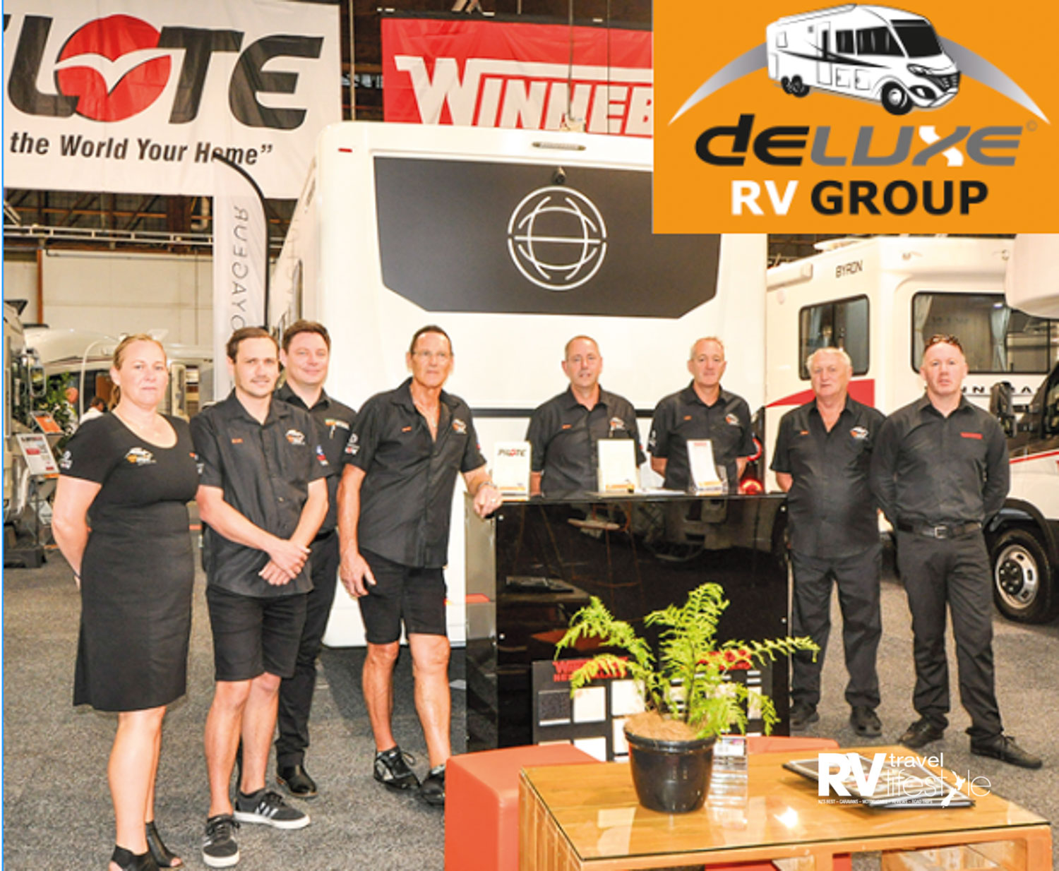 DeLuxe Group team from the left Laura Smith, Brett Smith, Brendan Ludlow Apollo - Winnebago Australia, Greg Smith, Brian and Matt sales and service, Gary Smith and Chris Hodson Apollo Vehicle Sales NZ