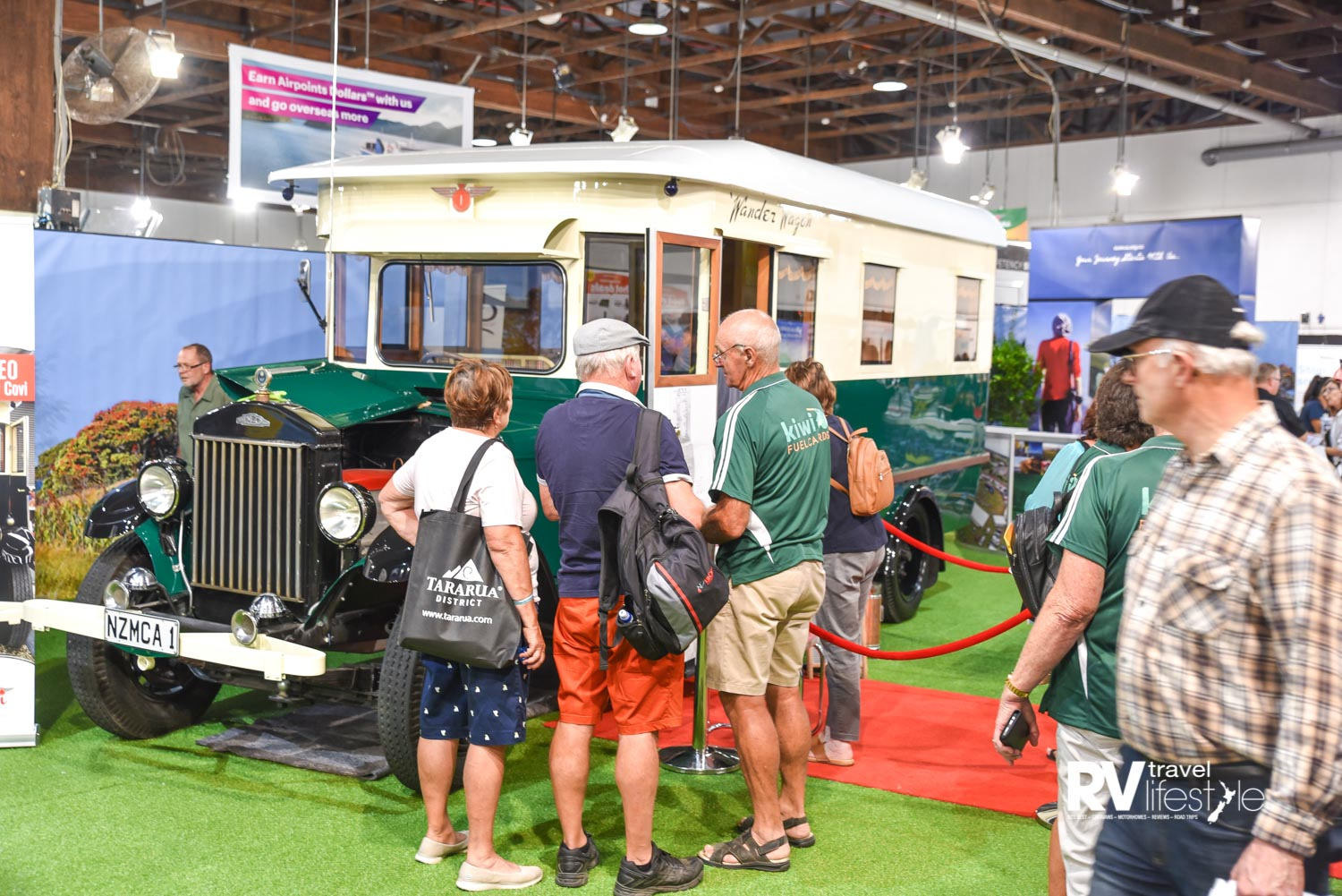 NZMCA No 1 fully restored motorhome took pride of place on the stand, and had a queue to view most of the time