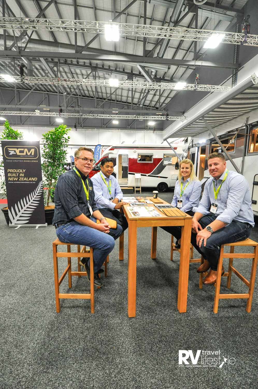 This the the nucleus of the ACM team, local manufacturing innovators in the RV manufacturing industry. From the left Designer Grant Wakerley, Factory Forman Cris behind, to the right ACM owners Chris and Jasmine Cunard