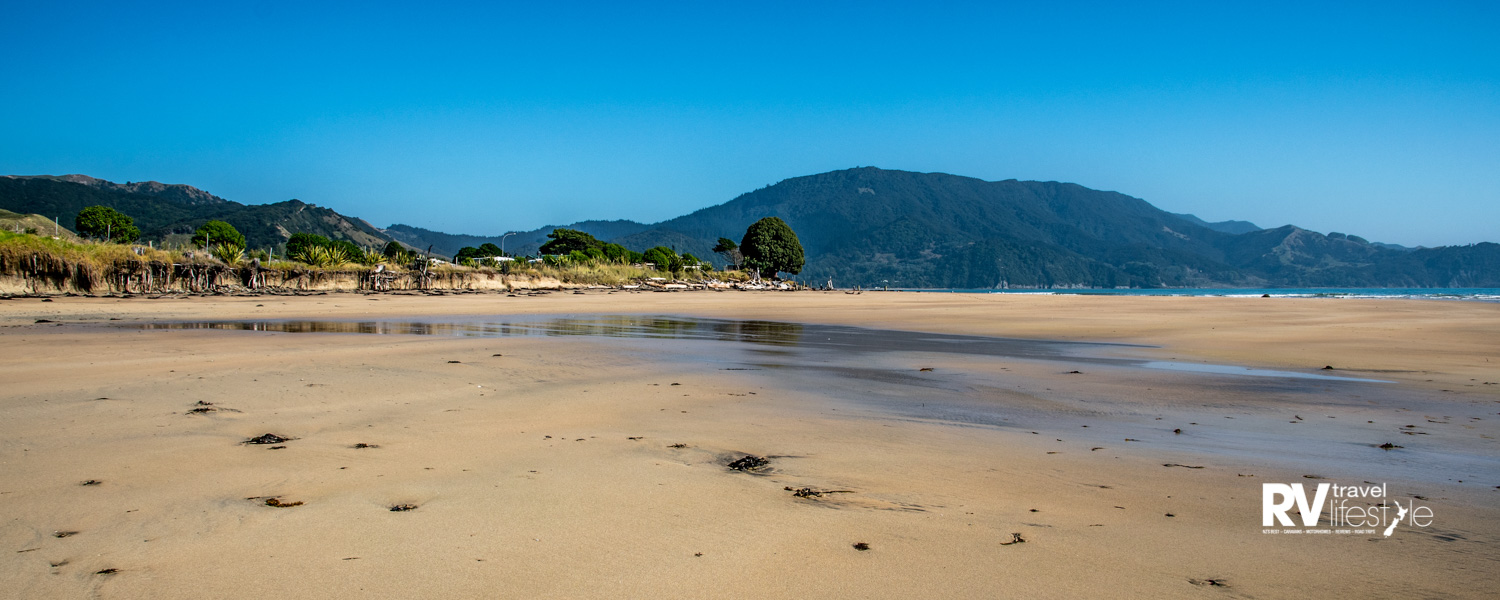 Golden sands at the beach where Captain Cook landed