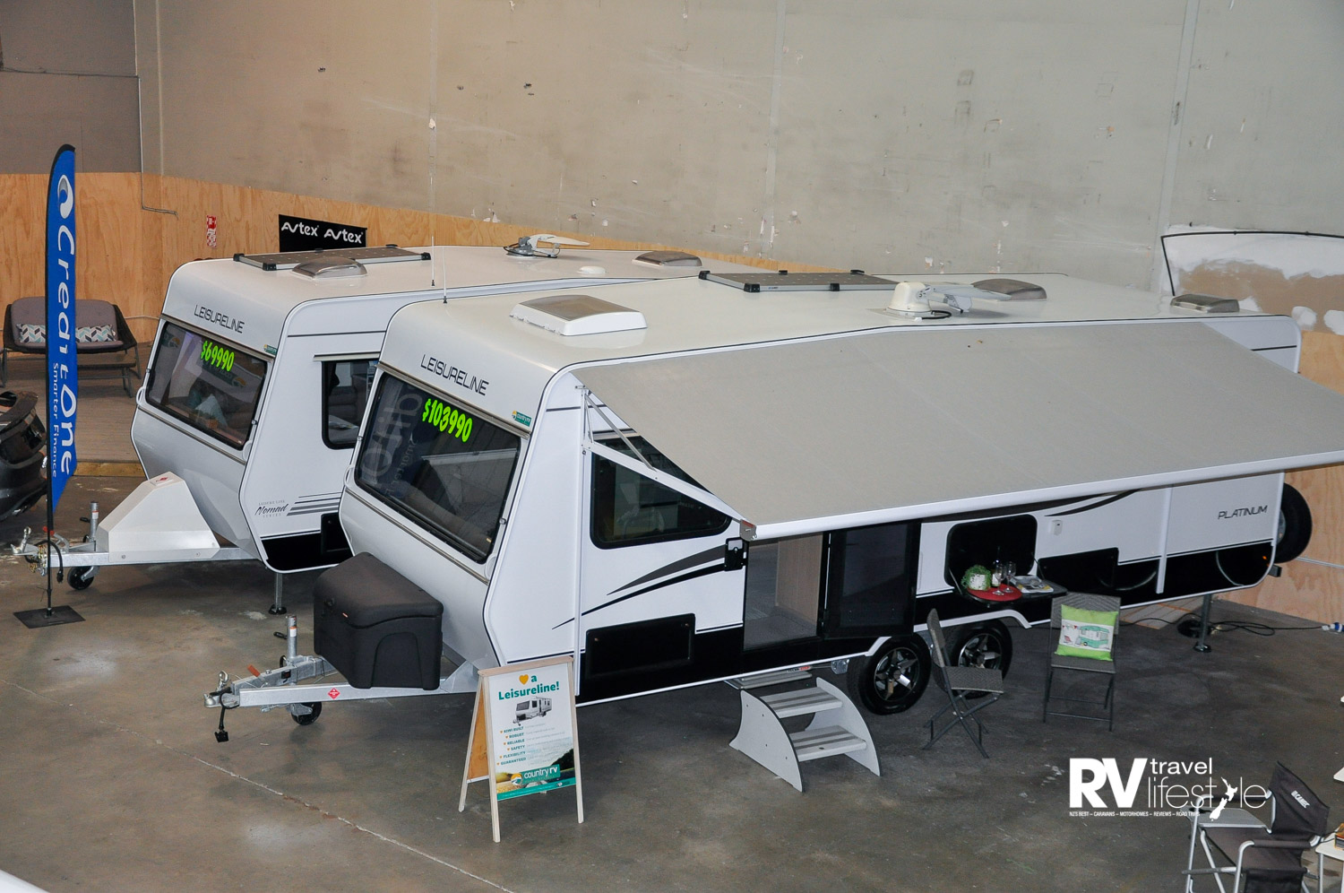 The indoor showroom at Country RV is ideal for wet winter days, with various models on display for customers to wander in and out of, comparing models, size and features in one space
