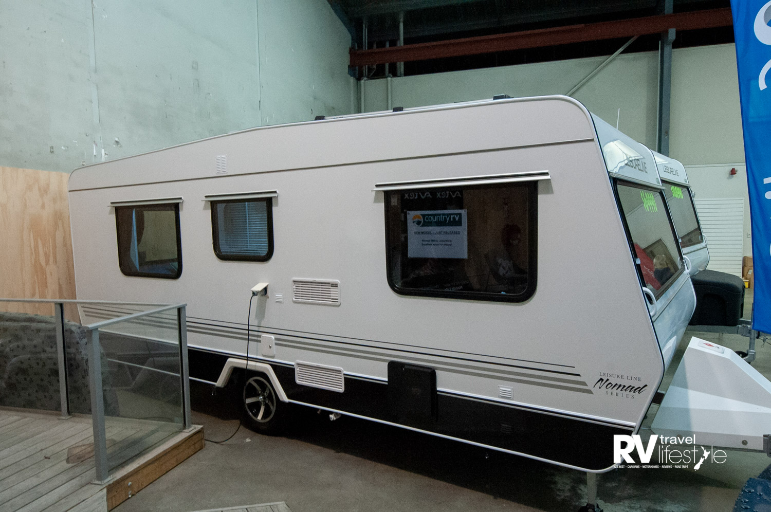 Classic Leisure Line build, aluminium exterior, pitched roof to prevent water sitting around, higher off the ground now to take out the wheel arch inside – a well-built New Zealand caravan