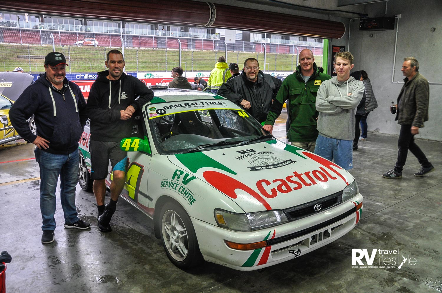 The RV Service Centre race team, at Hampton Downs for a charity 24 hour race. A team activity for Country RV owner Rob Axton and his team in the service centre - nice team building activity