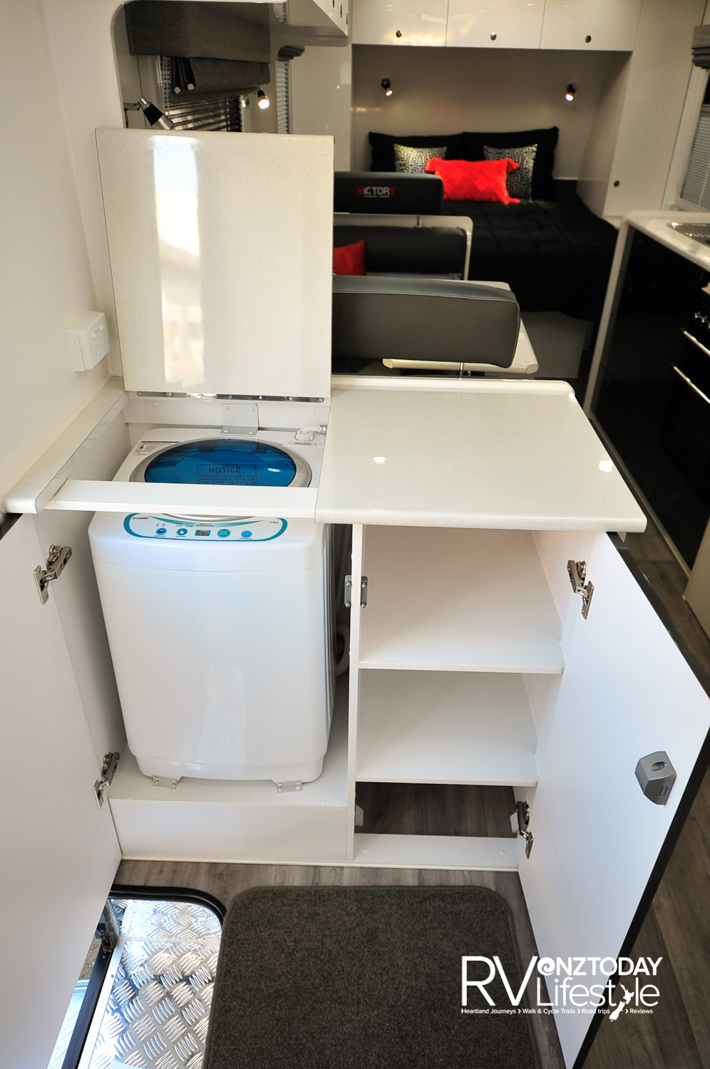 Washing machine and storage combined into a nice cabinet