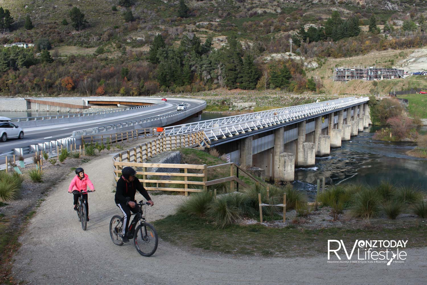 The new bridge across the outlet of Lake Wakatipu has ended years of traffic jams, while the old bridge – which was also part dam – has been retained for walkers and cyclists
