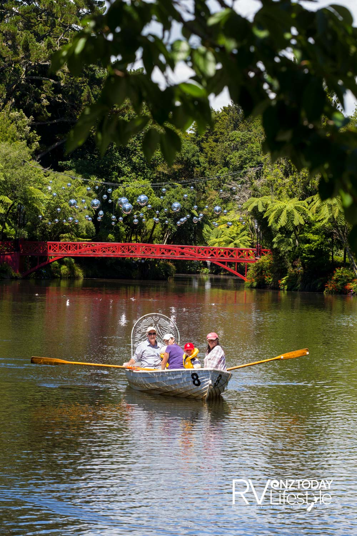 A rowboat is a good way to explore the lake at Pukekura Park