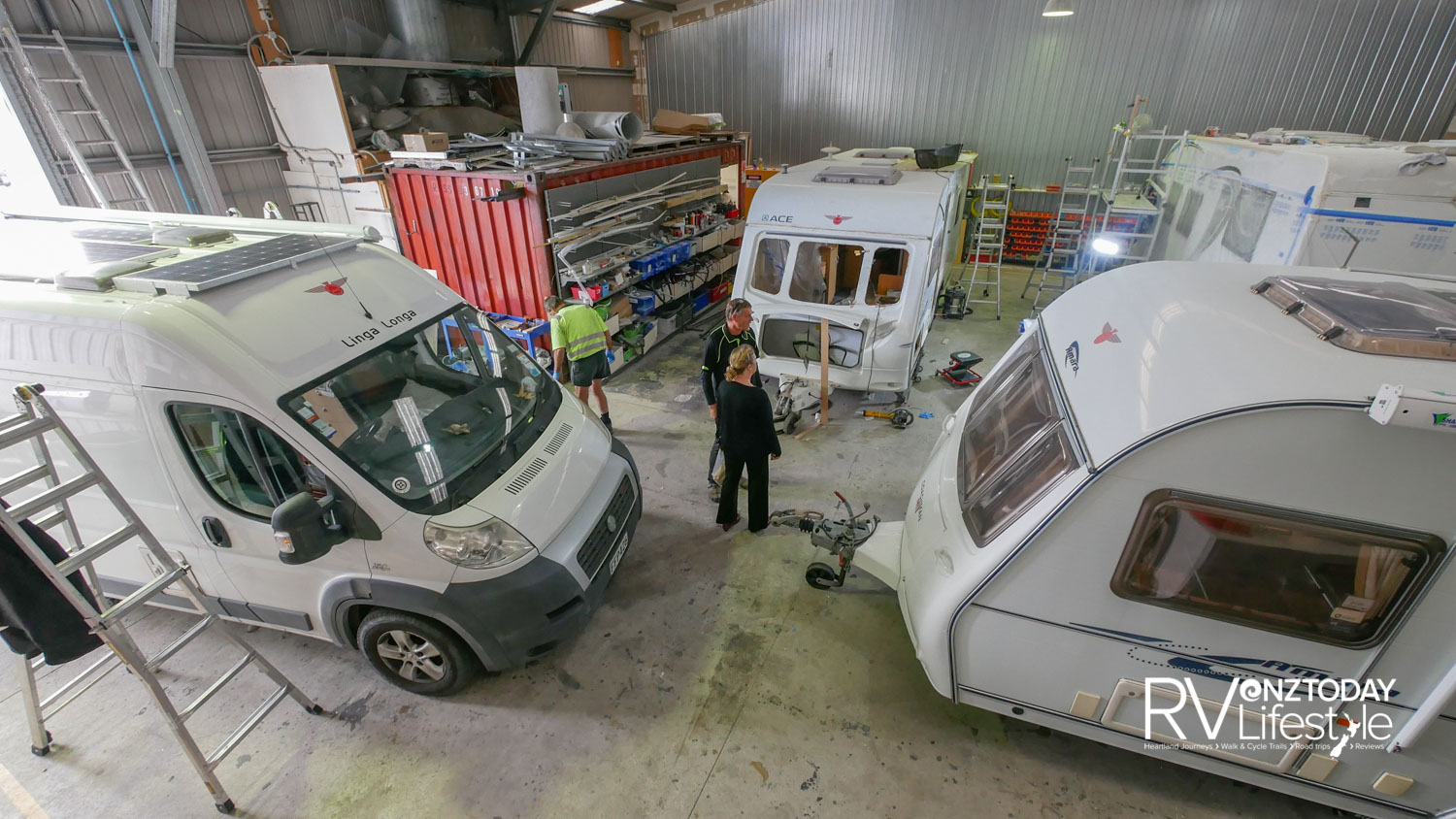 In one of the workshops, there are a couple of caravans in for repair, gas work and certification on a new imported motorhome, and upgrades lining up in a two-berth camper - it's all-go here, all the time