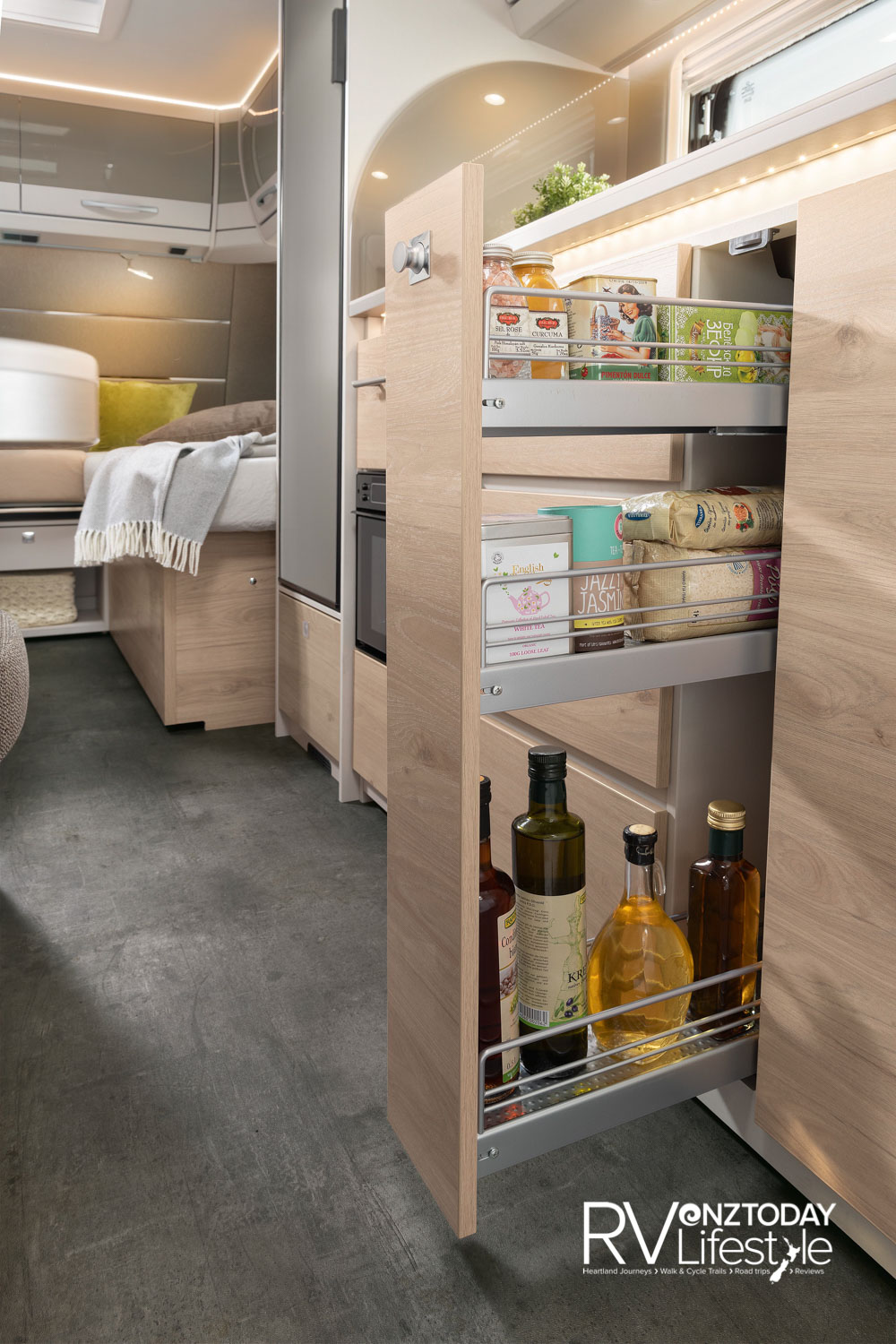 The kitchen storage is well equipped with pull-out pantry, drawers and overhead cupboard storage available