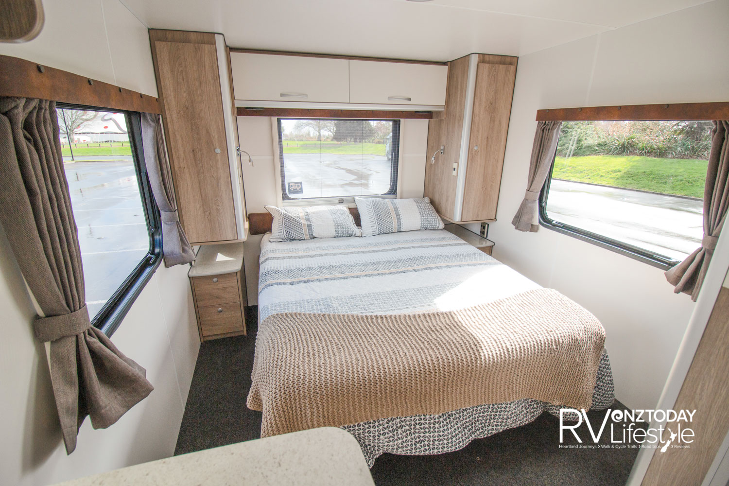 The island bed in the rear will please many, as will the spacious wardrobes on both sides, reading lights, and drawers with room for book, glasses and of course your morning cuppa, all whilst looking at the views from your bedroom windows