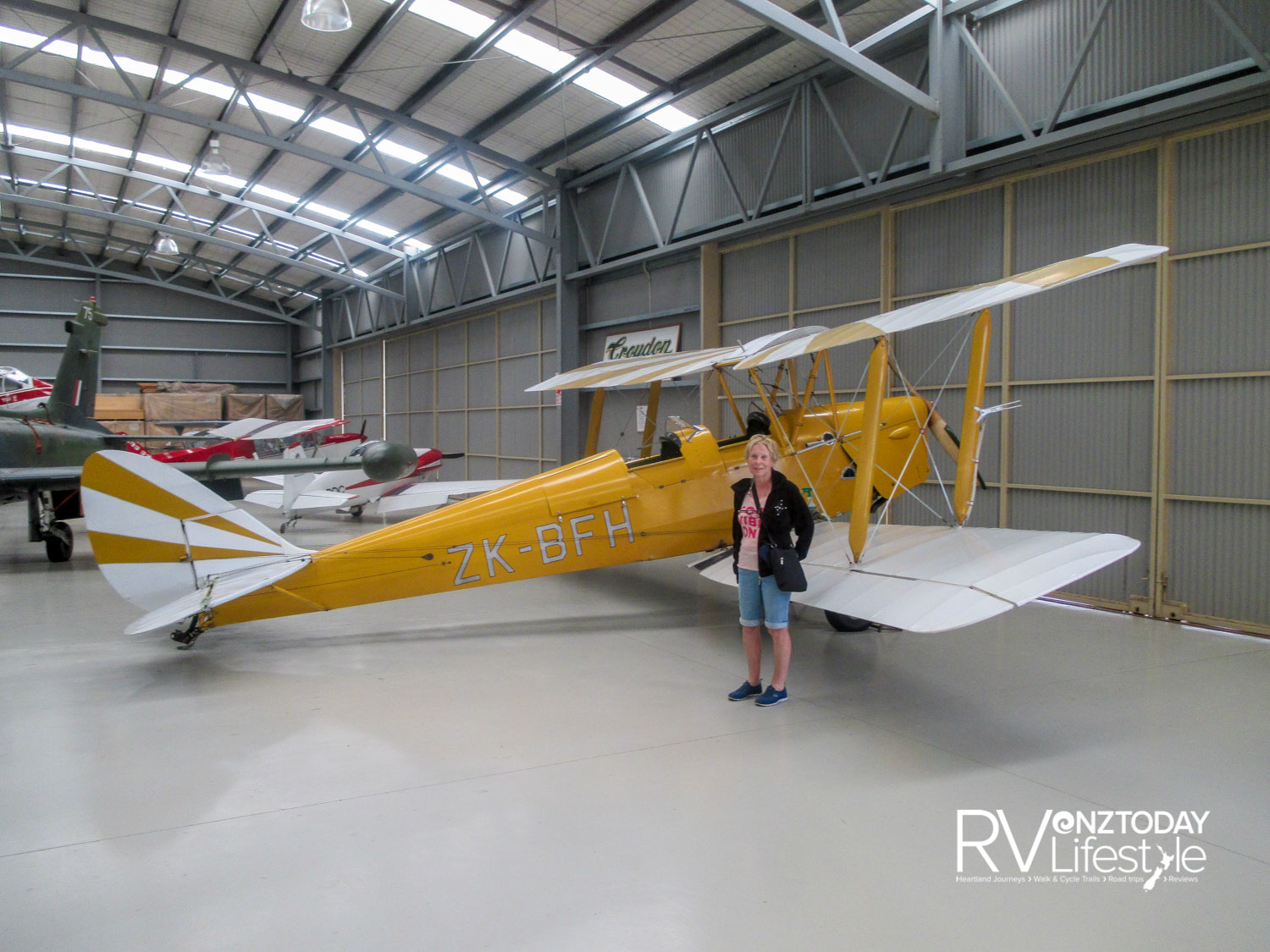 Mandeville Hanger - with the Tiger Moth and the frustrated aviatrix