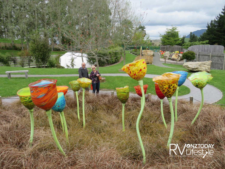 The sculpture garden at Lava Glass