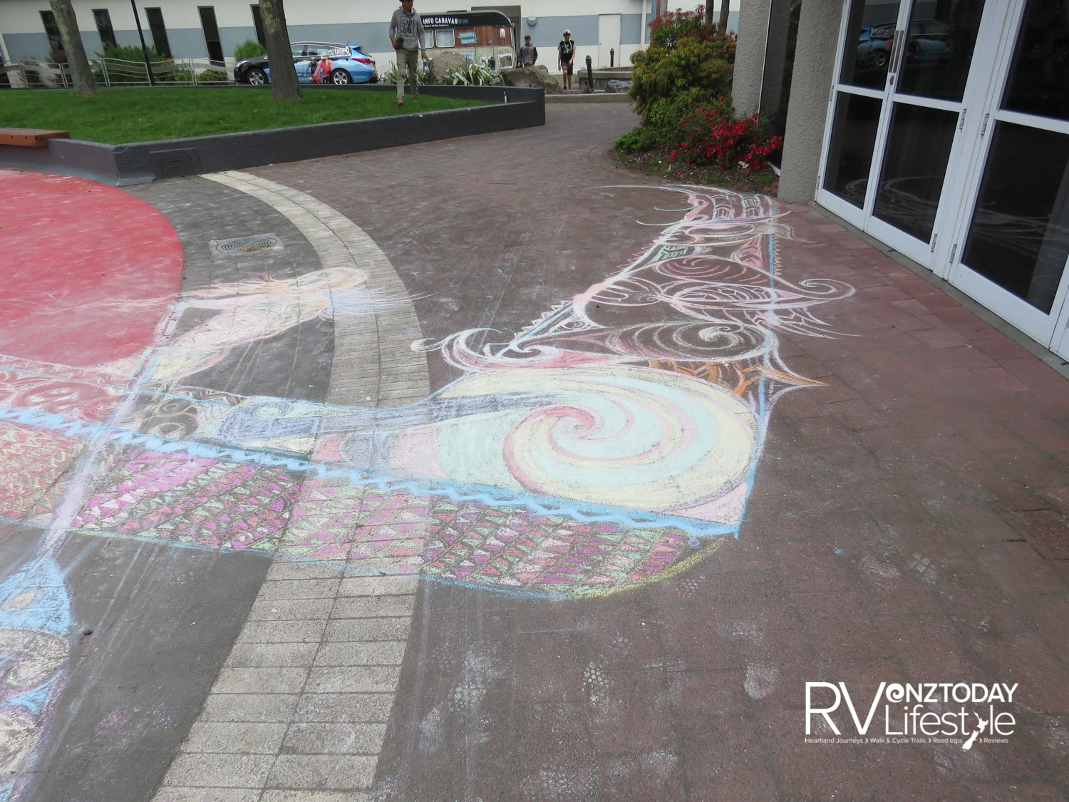 Chalk drawings celebrate 40 years since the Mine Bay rock carvings were made