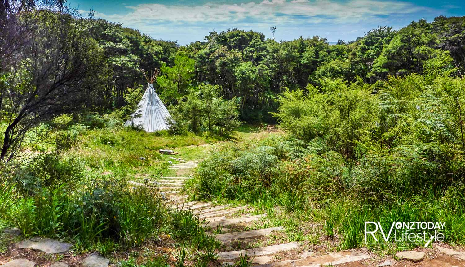 A Tipi nestled in the forest at Solscape