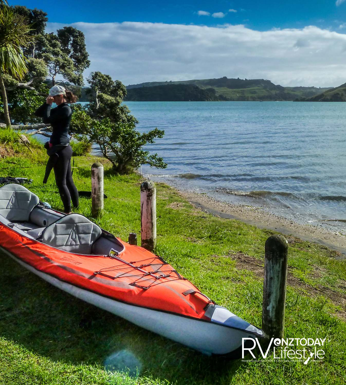 Setting up our inflatable kayak