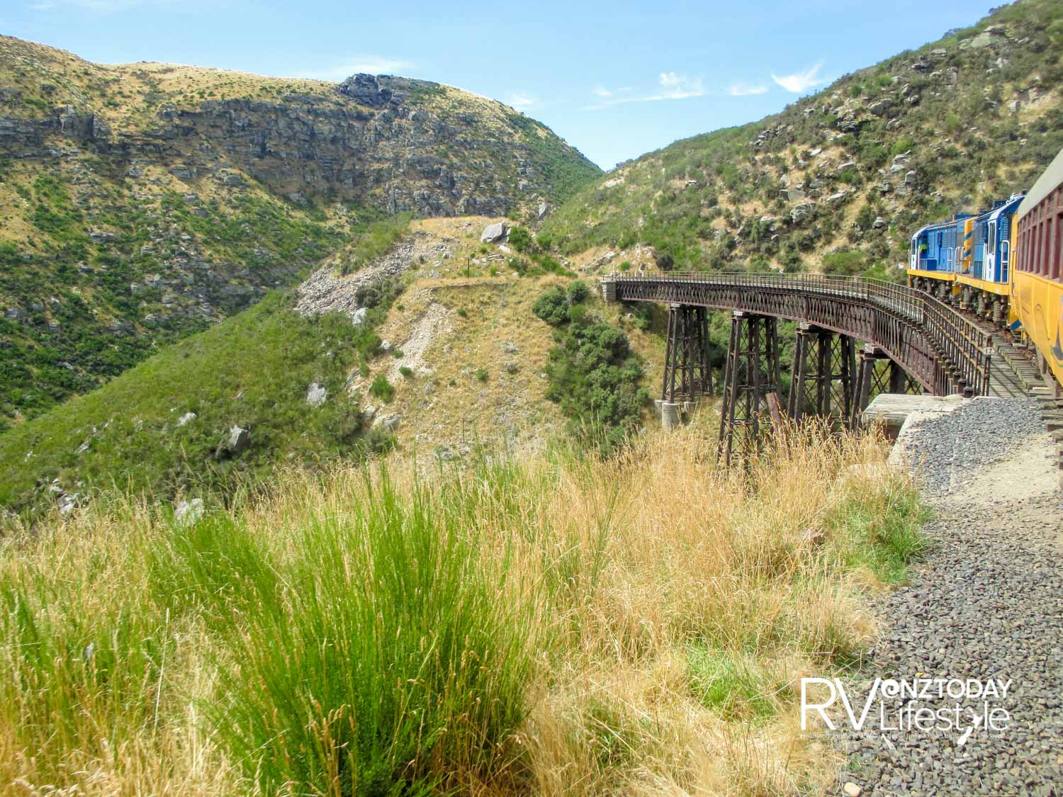 Taieri Gorge - crossing one of the very high trestle bridges