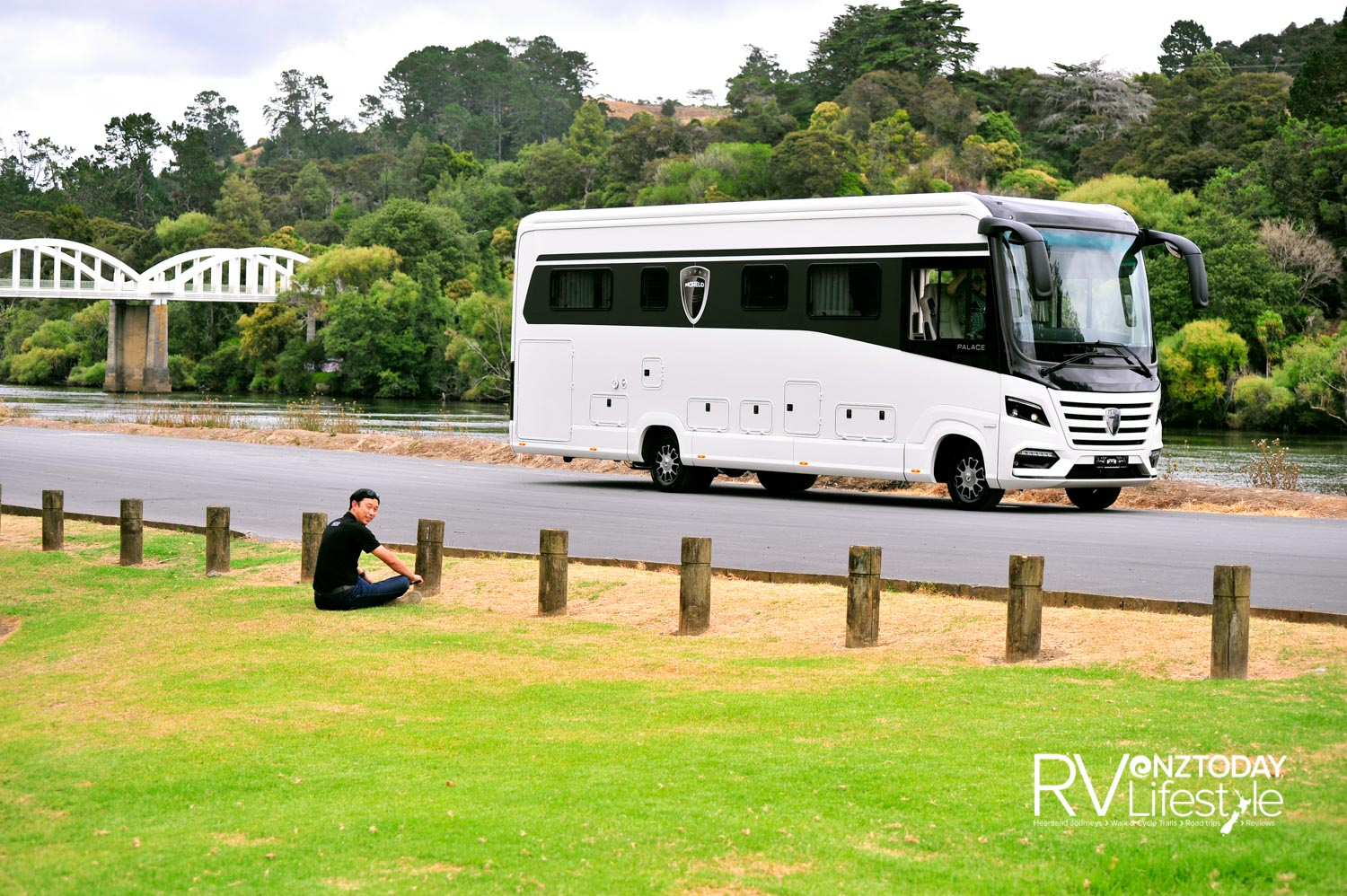 Jonas Ng from Zion Motorhomes, relaxing enjoying the Waikato river views while we climbed in and out of the MORELO discovering all it has to offer