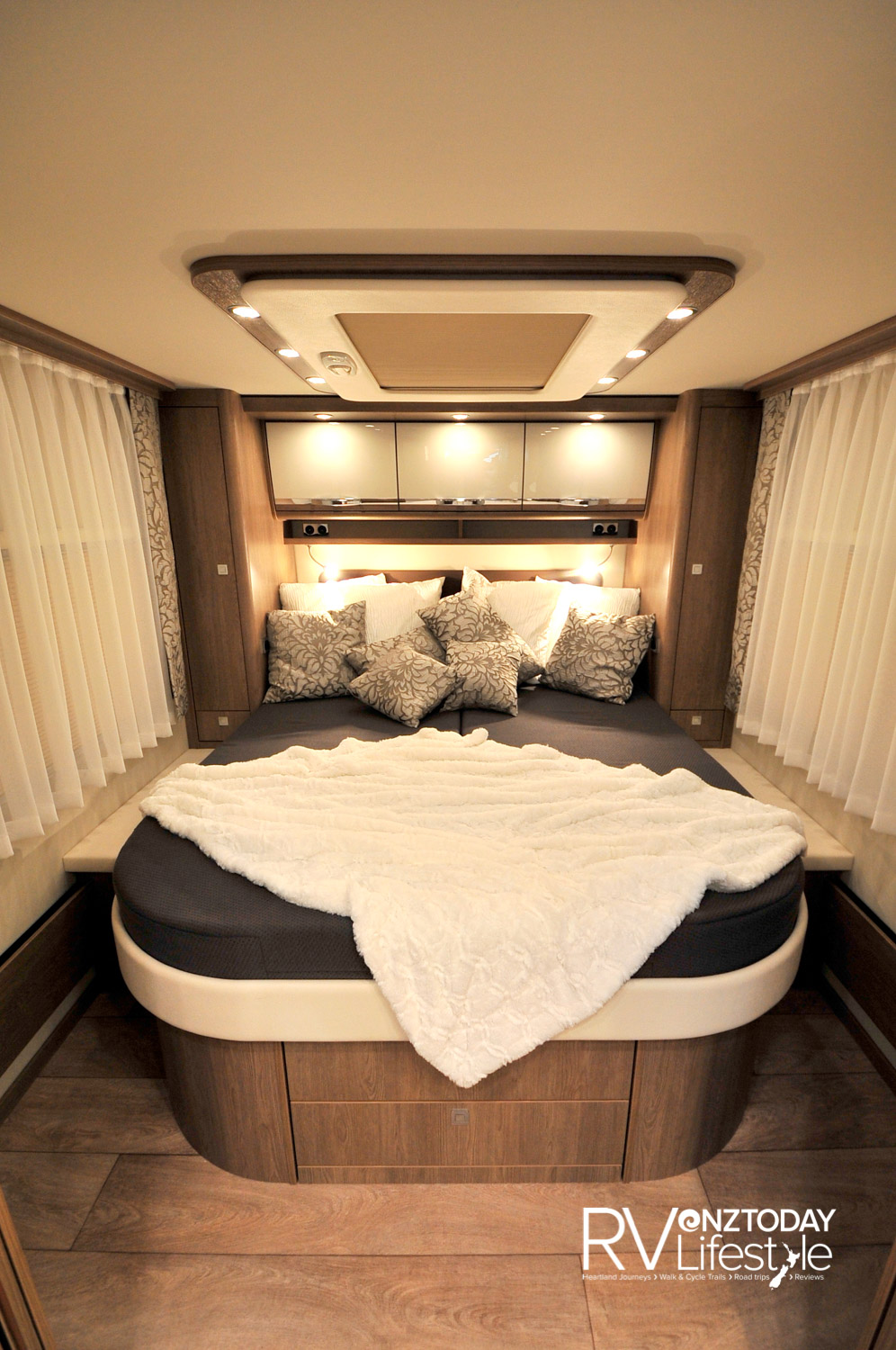 Nice bedroom, one step up into the room, bed has two drawers for storage, has the Evo Pore mattress with water gel top layer and comfort sprung base