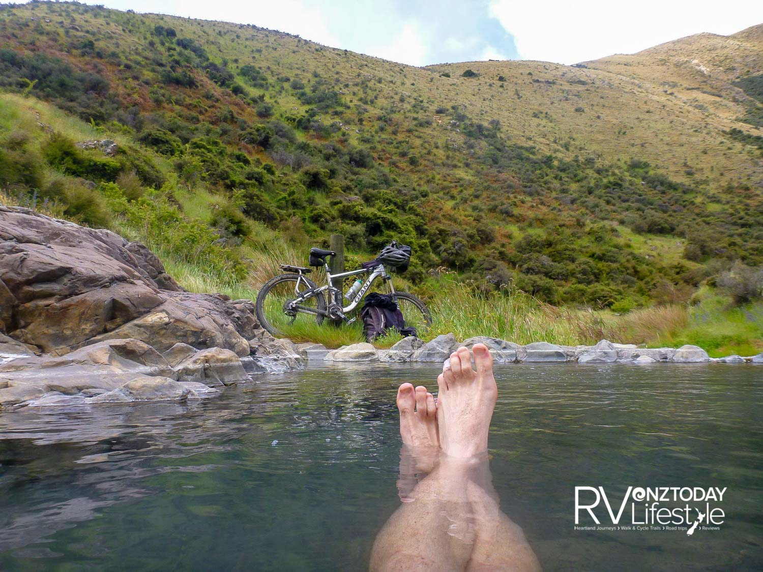 Cow Stream hot spring, perfect soak near the end of the ride