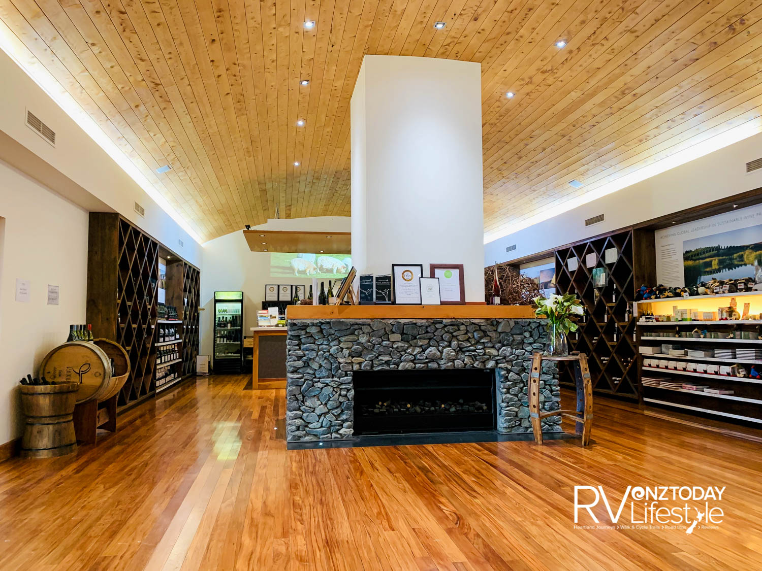 The tasting room at Yealand's winery