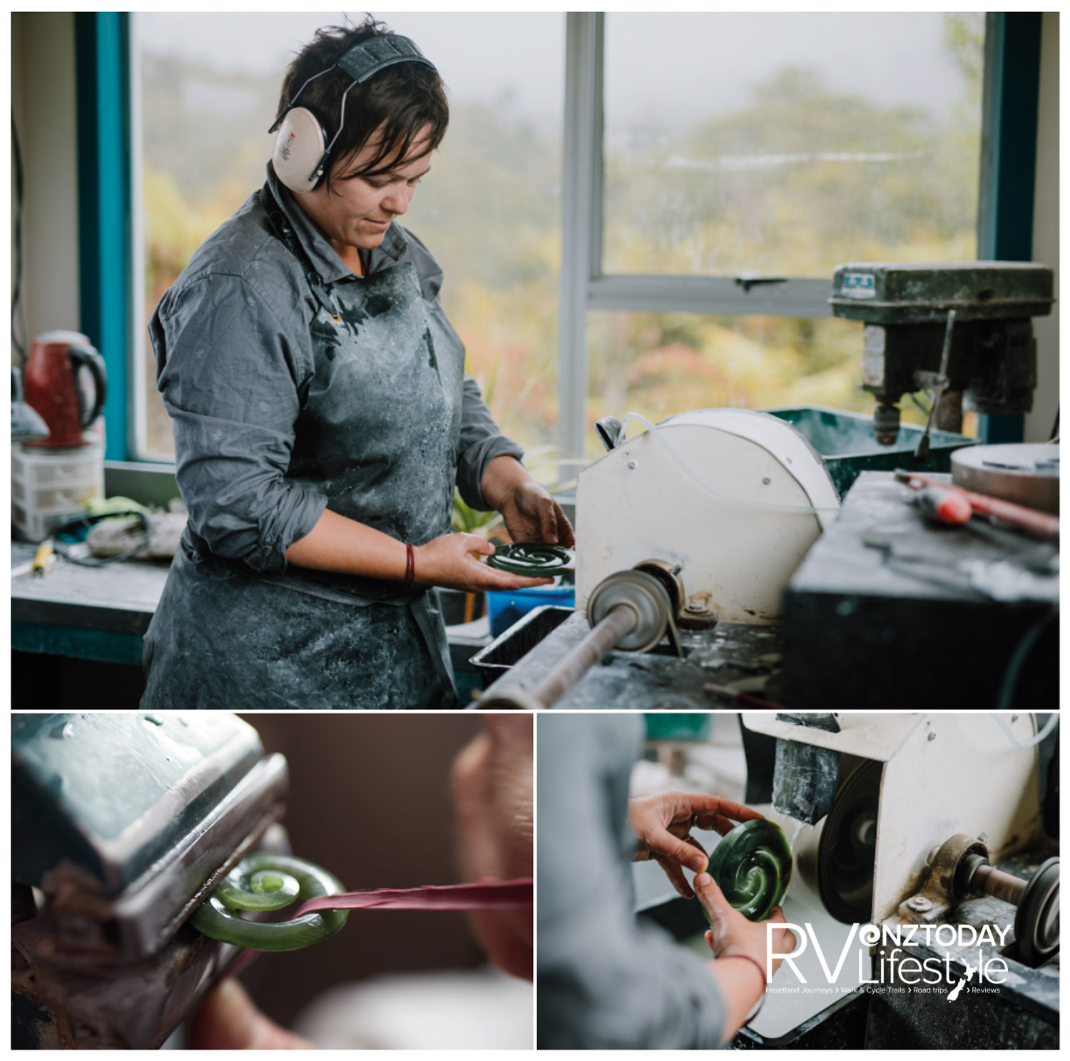 Watching the artists at work is a treat. Shaping the greenstone is a fine art (Mountain Jade)