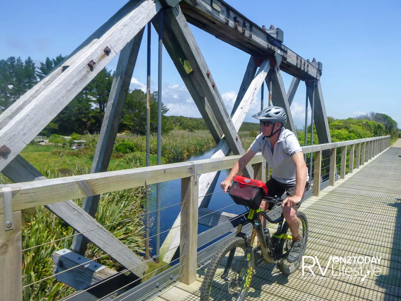The former Mahinapua railway truss bridge is a delight to ride