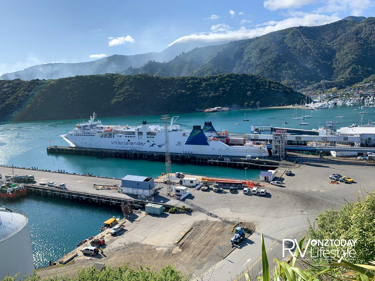 Picton harbour with a ferry waiting