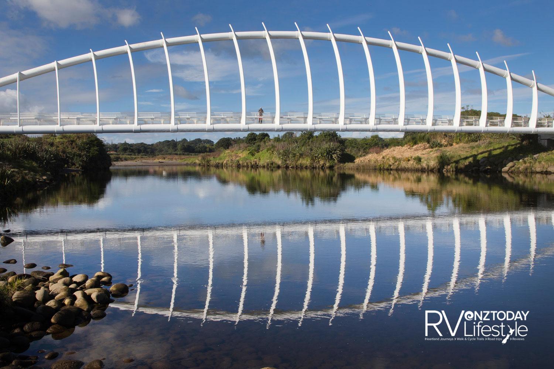 Te Rewa Rewa bridge opens towards the sacred Taranaki Maunga