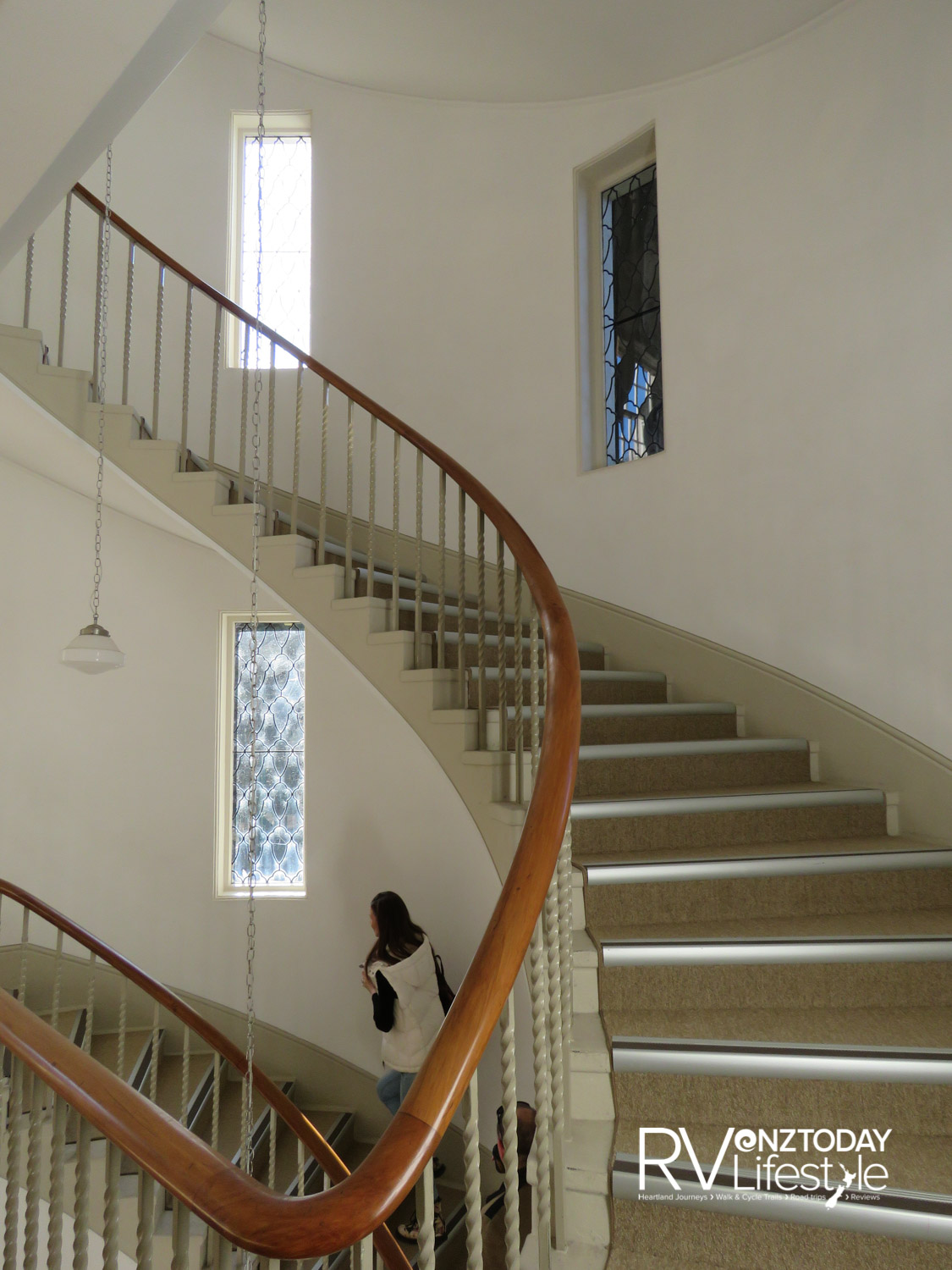 The graceful art deco Lopdell House staircase