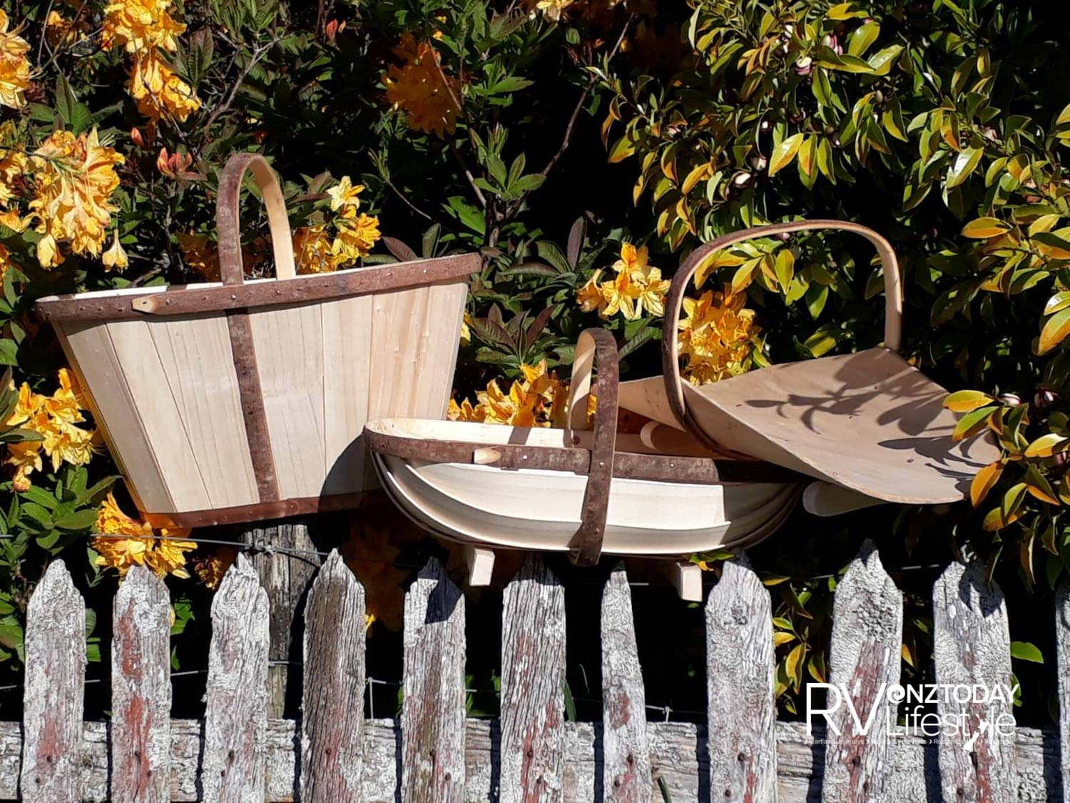 The maund, trug and flower basket, handcrafted by trug maker Tony Hitchcock (Photo: Supplied)