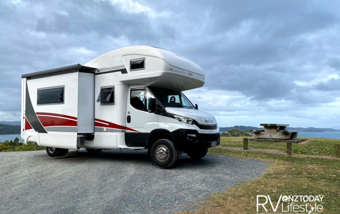IVECO based Platinum Edition Mobility custom built motorhome – parked up at Algies Bay – with the push of two buttons the stabilizers go down, and the slide-out pops out