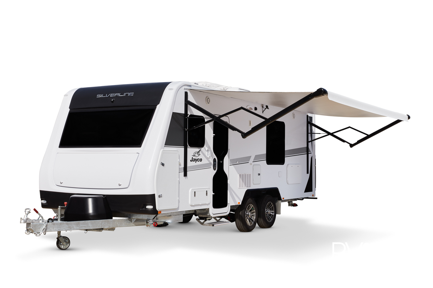A long awning is electric and even has an App that can be blue toothed to operate it. Stablisers underneath all around, bumper bar at the rear. The entertainment locker is in the rear quarter, other lockers along the side and in the front nose