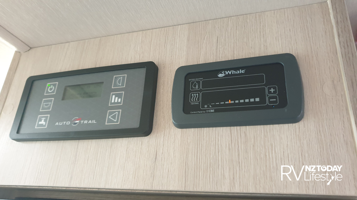 Control panels above the fridge, the Whale underfloor and hot water system has it's own control unit